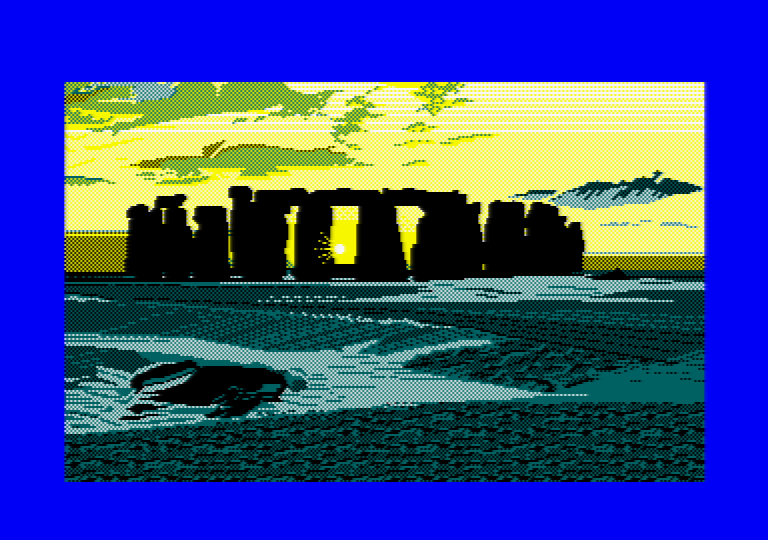 Stonehenge by Jill Lawson, mode 1 picture on an Amstrad CPC