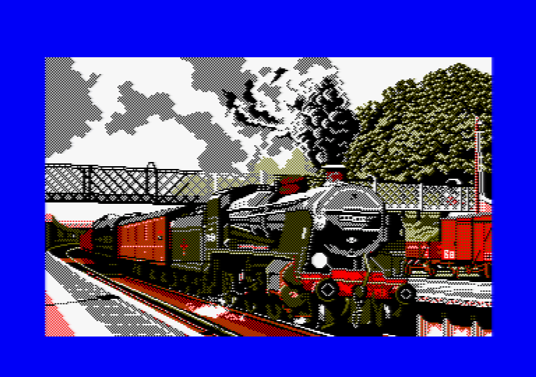 Train by Jill Lawson, mode 1 picture on an Amstrad CPC