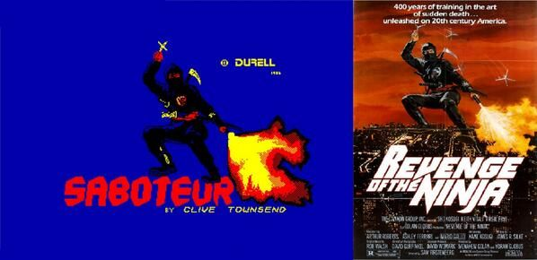 loading screen of the Amstrad CPC game Saboteur and movie poster of Revenge of the Ninja