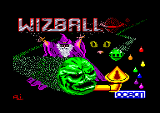 original loading screen of the wizball amstrad cpc game